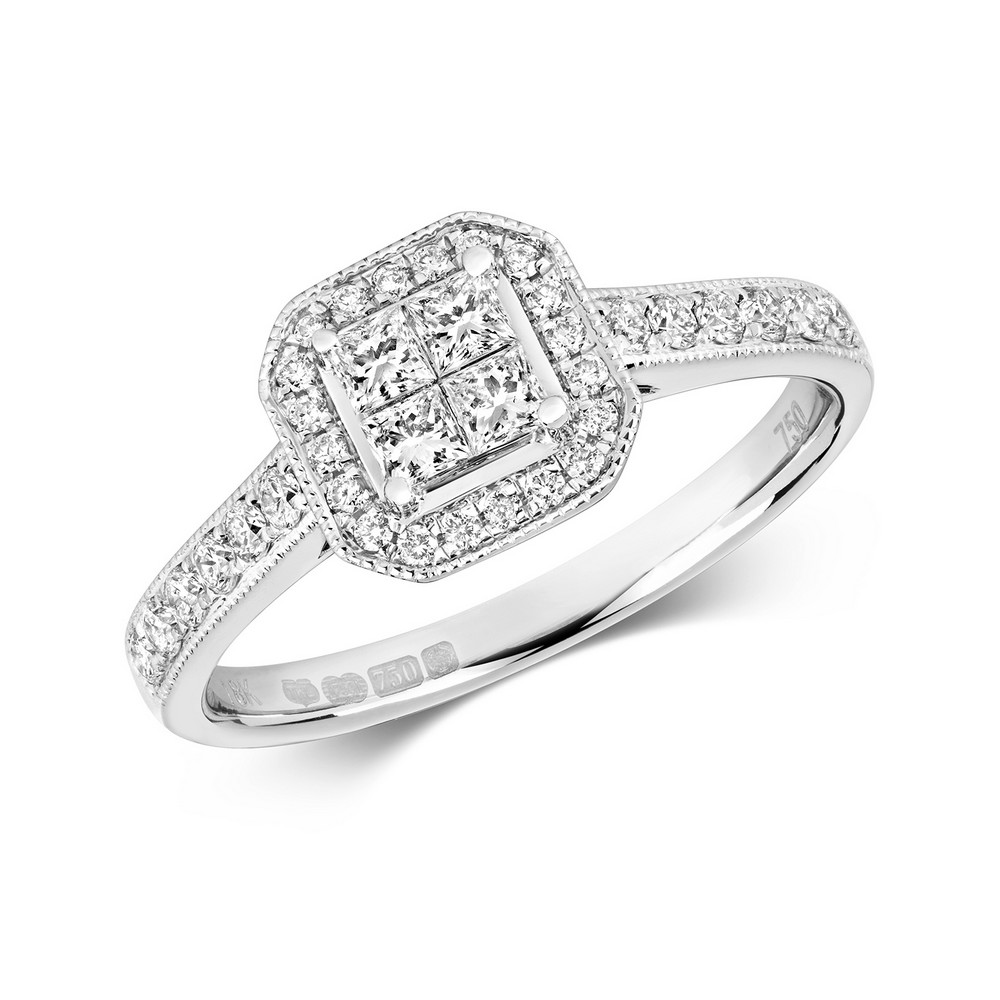 Diamond Cluster Ring with Princess Diamond Centre in 18ct White Gold (0.26ct)