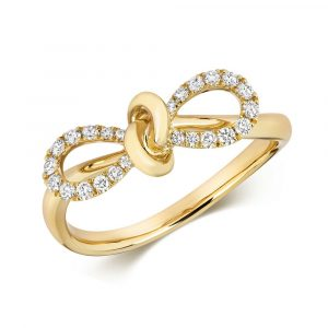 Diamond Set Bow Ring in 18ct Yellow Gold (0.18ct)