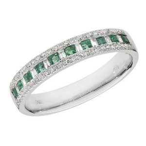 Half Eternity Style Princess Cut Emerald and Baguette Diamond 18ct White Gold Ring