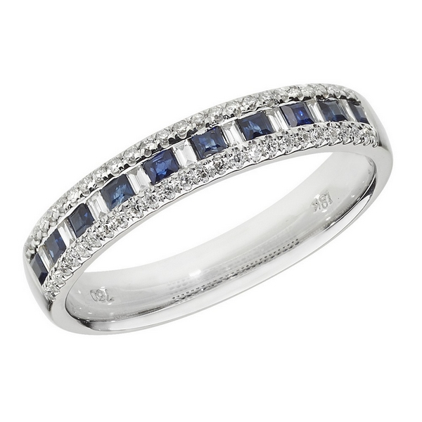 Half Eternity Style Princess Cut Sapphire and Baguette Diamond 18ct White Gold Ring