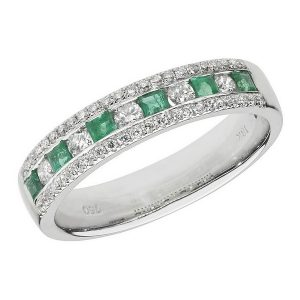 Half Eternity Style Princess Cut Emerald and Round Diamond 18ct White Gold Ring