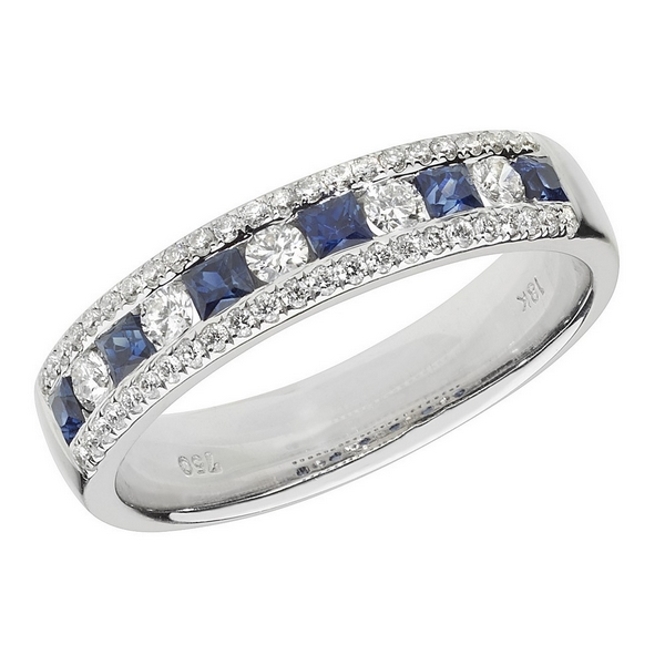 Half Eternity Style Princess Cut Sapphire and Round Diamond 18ct White Gold Ring