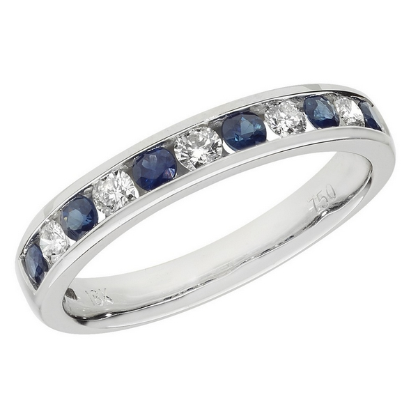 Half Eternity Style Round Cut Sapphire and Round Diamond 18ct White Gold Ring