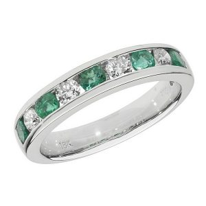 Half Eternity Style Round Cut Emerald and Round Diamond 18ct White Gold Ring