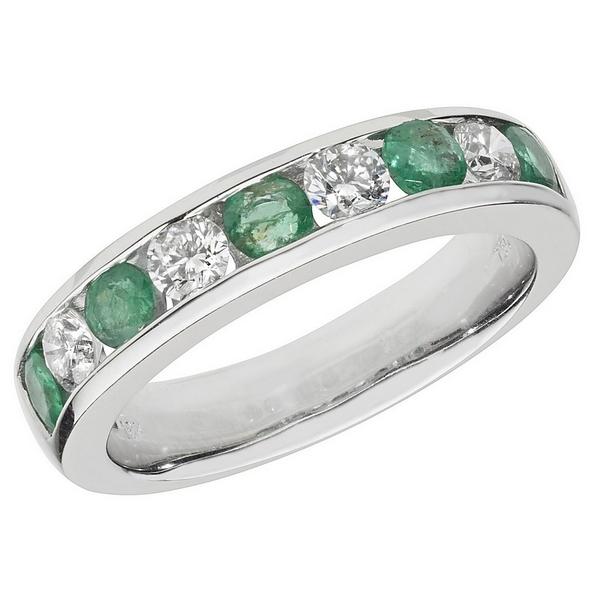Half Eternity Style Round Cut Emerald and Round Diamond 18ct White Gold Ring