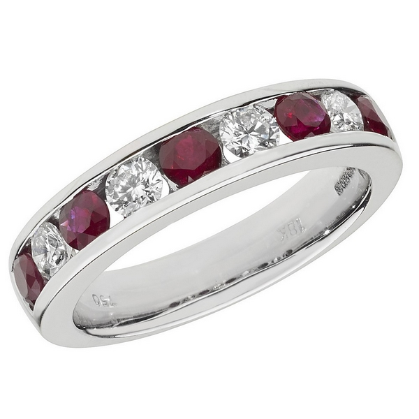 Half Eternity Style Round Cut Ruby and Round Diamond 18ct White Gold Ring