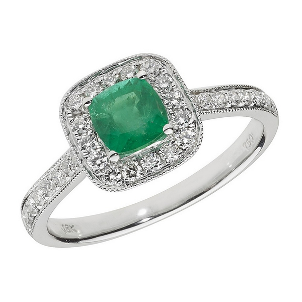 Diamond and Cushion Shaped Emerald Cluster Ring with Diamond Shoulders in 18ct White Gold