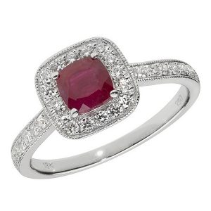 Diamond and Cushion Shaped Ruby Cluster Ring with Diamond Shoulders in 18ct White Gold