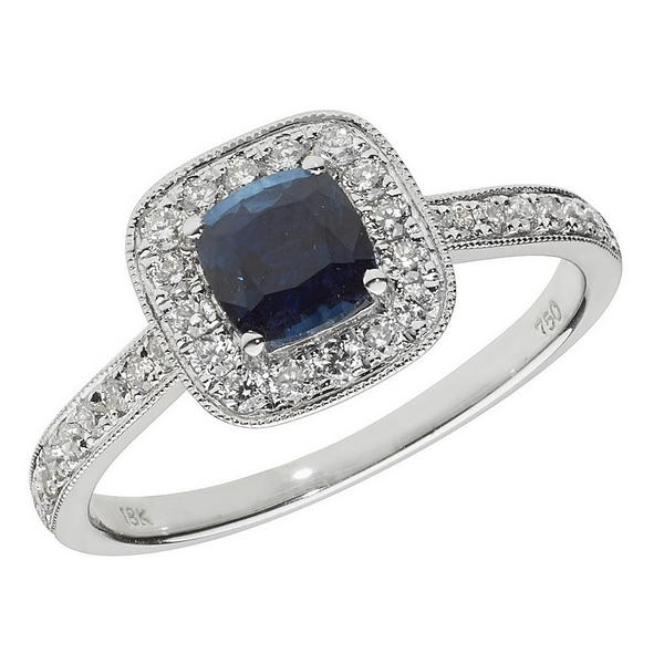 Diamond and Cushion Shaped Sapphire Cluster Ring with Diamond Shoulders in 18ct White Gold