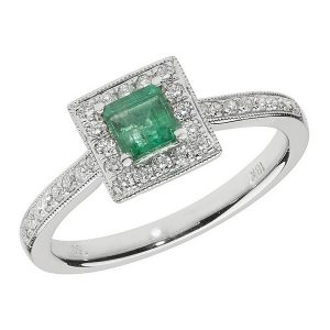 Diamond and Square Shaped Emerald Cluster Ring with Diamond Shoulders in 18ct White Gold
