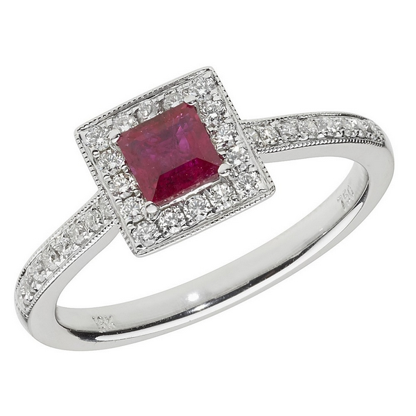 Diamond and Square Shaped Ruby Cluster Ring with Diamond Shoulders in 18ct White Gold