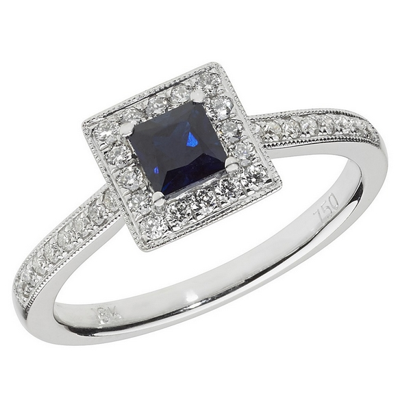 Diamond and Square Shaped Sapphire Cluster Ring with Diamond Shoulders in 18ct White Gold