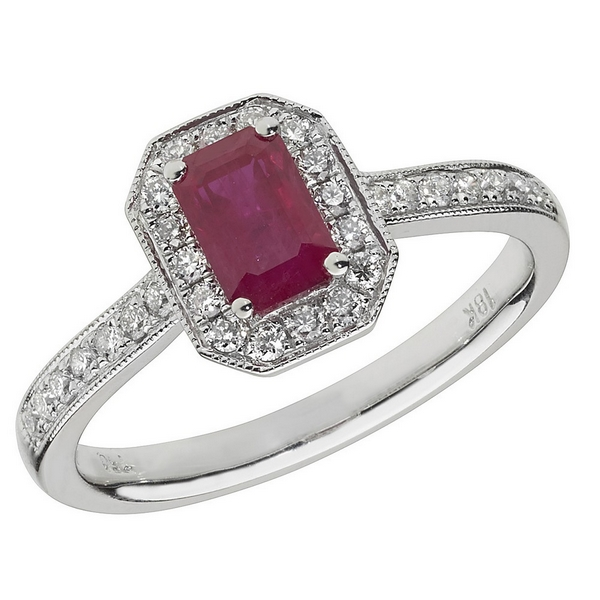 Diamond and Octagon Shaped Ruby Cluster Ring with Diamond Shoulders in 18ct White Gold