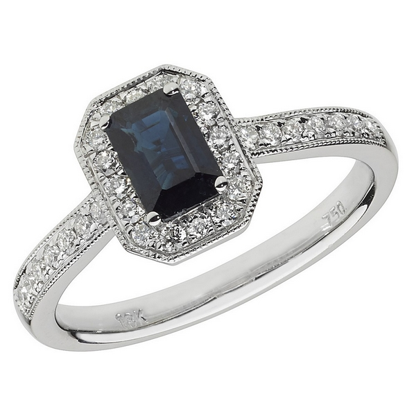 Diamond and Octagon Shaped Sapphire Cluster Ring with Diamond Shoulders in 18ct White Gold