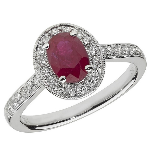 Diamond and Oval Shaped Ruby Cluster Ring with Diamond Shoulders in 18ct White Gold