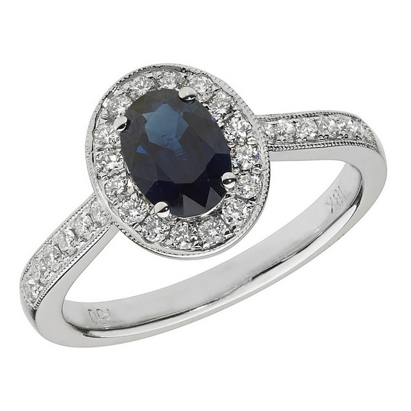 Diamond and Oval Shaped Sapphire Cluster Ring with Diamond Shoulders in 18ct White Gold