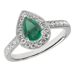 Diamond and Pear Shaped Emerald Cluster Ring with Diamond Shoulders in 18ct White Gold