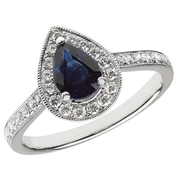 Diamond and Pear Shaped Sapphire Cluster Ring with Diamond Shoulders in 18ct White Gold