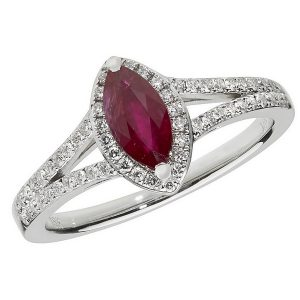 Diamond and Marquise Shaped Ruby Cluster Ring with Split Diamond Shoulders in 18ct White Gold