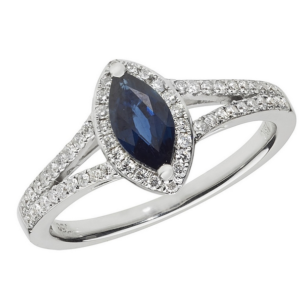 Diamond and Marquise Shaped Sapphire Cluster Ring with Split Diamond Shoulders in 18ct White Gold