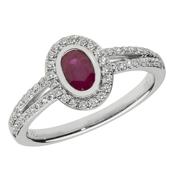 Diamond and Oval Shaped Ruby Cluster Ring with Split Diamond Shoulders in 18ct White Gold