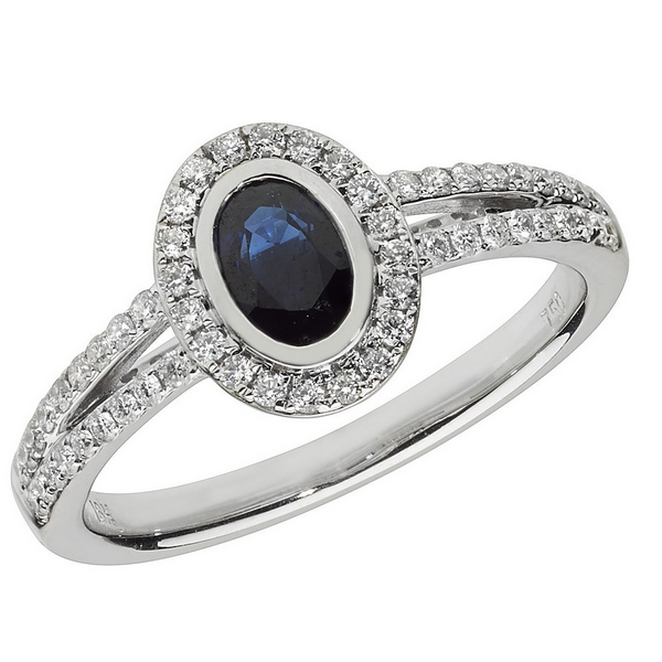 Diamond and Oval Shaped Sapphire Cluster Ring with Split Diamond Shoulders in 18ct White Gold