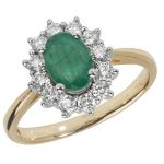 Diamond Cluster Ring with Centre Set Oval Emerald in 18ct Yellow Gold 1