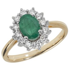 Diamond Cluster Ring with Centre Set Oval Emerald in 18ct Yellow Gold