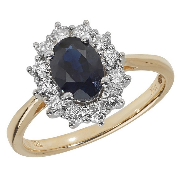 Diamond Cluster Ring with Centre Set Oval Sapphire in 18ct Yellow Gold