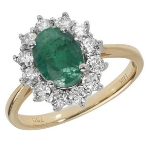 Diamond Cluster Ring with Large Centre Set Oval Emerald in 18ct Yellow Gold