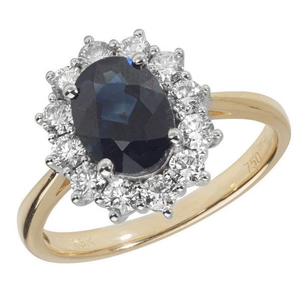 Diamond Cluster Ring with Large Centre Set Oval Sapphire in 18ct Yellow Gold