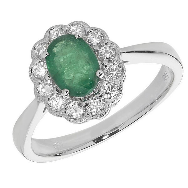 Diamond Cluster Ring with Centre Set Oval Emerald in 18ct White Gold