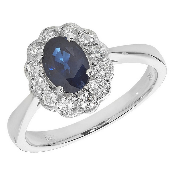 Diamond Cluster Ring with Centre Set Oval Sapphire in 18ct White Gold