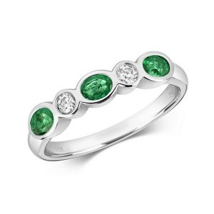 Rubover Set Diamond and Oval Emerald Eternity Ring in 18ct White Gold