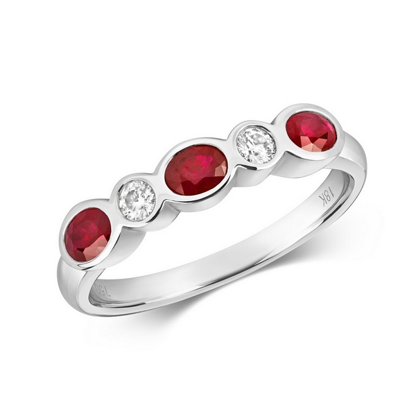 Rubover Set Diamond and Oval Ruby Eternity Ring in 18ct White Gold
