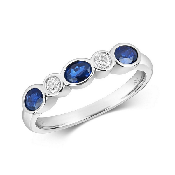 Rubover Set Diamond and Oval Sapphire Eternity Ring in 18ct White Gold