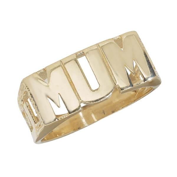 Ladies Curb Sided MUM Ring in 9ct Yellow Gold
