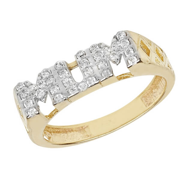 Ladies Basket Sided MUM Ring Set with Czs in 9ct Yellow Gold