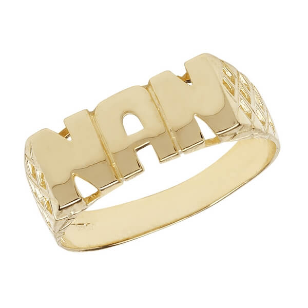 Ladies Basket Sides NAN Ring in 9ct Yellow Gold