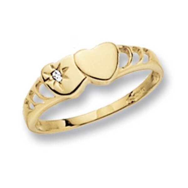 Hearts Design Maiden Ring set with a single CZ in 9ct Yellow Gold