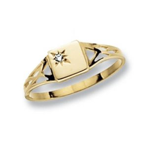 Square Design Maiden Ring set with a single CZ in 9ct Yellow Gold