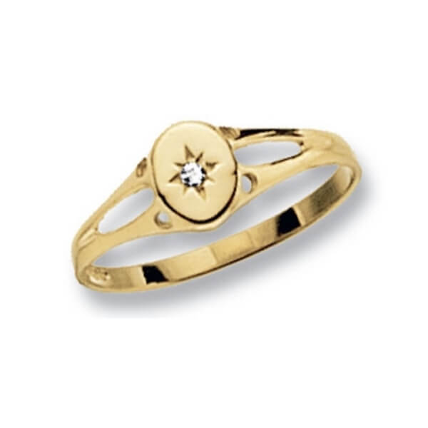 Oval Design Maiden Ring set with a single CZ in 9ct Yellow Gold