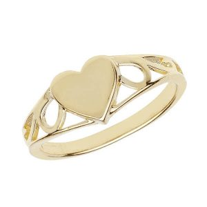 Heart Design Maiden Ring in 9ct Yellow Gold