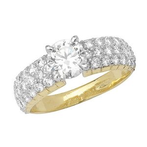 Pave and centre set CZ Ladies Ring in 9ct Yellow Gold