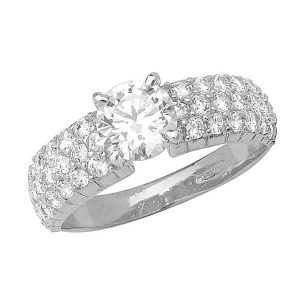 Pave and centre set CZ Ladies Ring in 9ct White Gold
