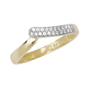 Twist or Wishbone Style CZ set Ladies Gold Ring