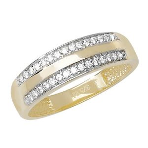 Two Row CZ set Gold Band in 9ct Yellow Gold