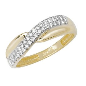 Twist Design CZ set 9ct Yellow Gold Ladies Ring