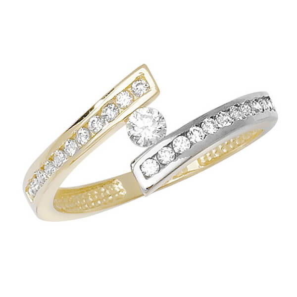 Wrap Around CZ set Ladies Ring in 9ct Yellow Gold