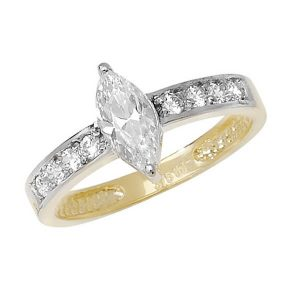 Round and centre Marquise CZ set Ladies Ring in 9ct Yellow Gold